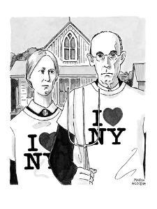 Grant Woods' 'American Gothic' couple dressed in I Love NY t-shirts. - New Yorker Cartoon by Marisa Acocella Marchetto