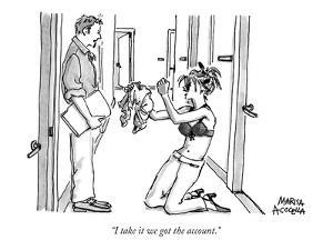 """""""I take it we got the account."""" - New Yorker Cartoon by Marisa Acocella Marchetto"""