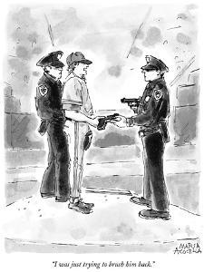 """""""I was just trying to brush him back."""" - New Yorker Cartoon by Marisa Acocella Marchetto"""
