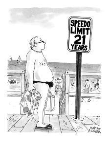 Speedo Limit: 21 Years - New Yorker Cartoon by Marisa Acocella Marchetto