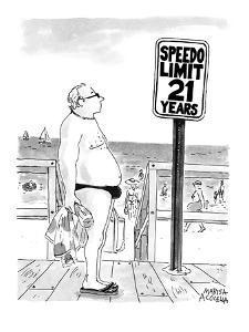Speedo Limit: 21 Years - New Yorker Cartoon by Marisa Acocella Marchetto