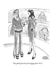 """""""They finally found my lost luggage from 1972."""" - New Yorker Cartoon by Marisa Acocella Marchetto"""