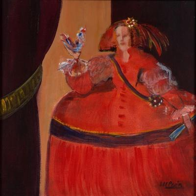 Menina in Red with Small Cockerel