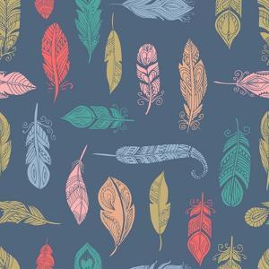 Bohemian Style Feathers Seamless Pattern by Marish