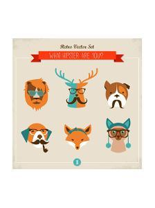 Cute Fashion Hipster Animals & Pets, Set of Vector Icons by Marish