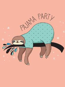 Cute Hand Drawn Sloths, Funny Vector Illustration, Poster and Greeting Card, Party Invitation by Marish
