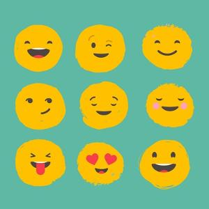 Hand Drawn Emoticons, Colorful Emoji Icons with Communication Speech Bubbles by Marish