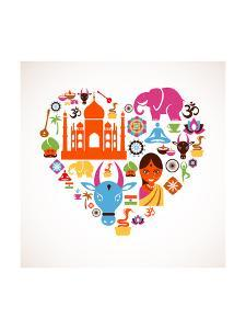 Heart With India Icons by Marish