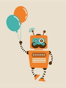 Hipster Vintage Robot With Balloons - Retro Style Card by Marish