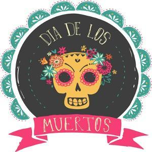 Print - Mexican Sugar Skull, Day of the Dead Poster by Marish