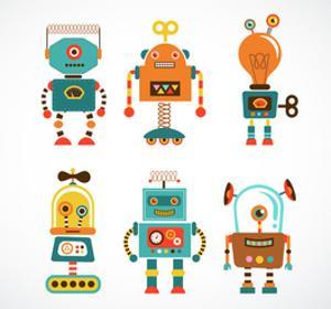 Set Of Cute Vintage Robots by Marish