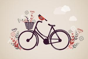 Vintage Retro Bicycle Background with Flowers and Bird by Marish