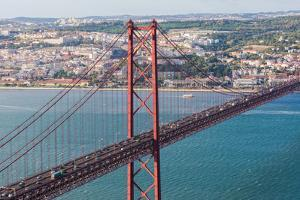 25th of April Bridge over the Tagus River, Lisbon, Portugal by Mark A Johnson