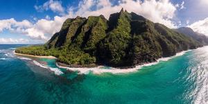Aerial photograph of Ke'e Beach, Na Pali Coast, Kauai, Hawaii, USA by Mark A Johnson