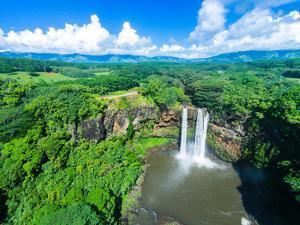 Aerial photograph of Wailua Falls, Kauai, Hawaii, USA by Mark A Johnson
