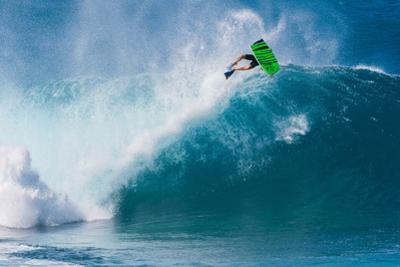 Bodyboarding at Banzai Pipeline, North Shore, Oahu, Hawaii by Mark A Johnson