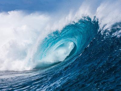 Breaking tubing wave at Teahupoo surf break, Tahiti, French Polynesia