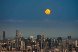 Full moon rising over Brisbane city, Queensland, Australia by Mark A Johnson