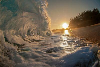 Golden Dawn-Shorebreak at sunrise, Breaking ocean wave, Kauai, Hawaii by Mark A Johnson