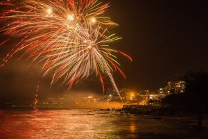 New Year's Eve Fireworks, Kings Beach, Sunshine Coast, Queensland, Australia by Mark A Johnson