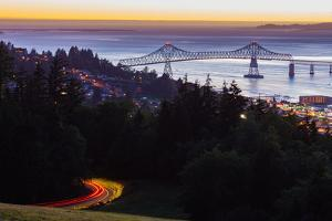 The Astoria-Megler Bridge over the Columbia River & the town of Astoria, Oregon, USA by Mark A Johnson