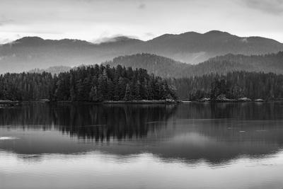The misty mountains and calm waters of the Tongass National Forest, Southeast Alaska, USA