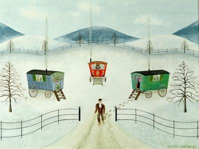 Gypsy Caravans in the Snow, 1981 by Mark Baring