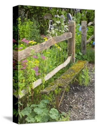 Flower Garden with Old Wood Fence
