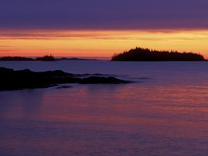 Spring Sunrise Silhouettes Edwards Island and Clouds on Lake Superior, Isle Royale National Park by Mark Carlson