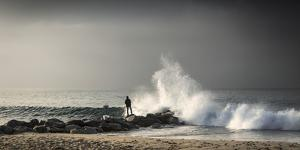 Early Morning Fisherman on Will Rogers Beach by Mark Chivers