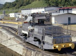 Locomotives Used to Pull Ships Through the Locks, Panama Canal, Panama, Central America by Mark Chivers