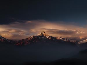 Machapuchare (Machhapuchhre) (Fish Tail) Mountain, in the Annapurna Himal of North Central Nepal, N by Mark Chivers