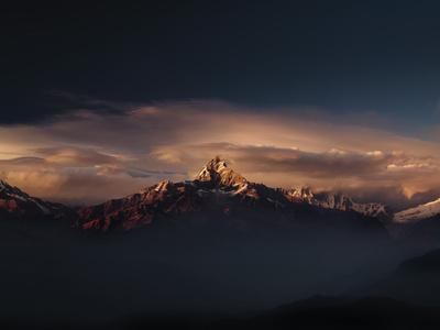 Machapuchare (Machhapuchhre) (Fish Tail) Mountain, in the Annapurna Himal of North Central Nepal, N