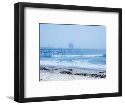 San Clemente Pier with Surfers on a Foggy Day, California, United States of America, North America