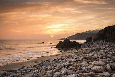 Sunset on Will Rogers Beach, Pacific Palisades, California, United States of America, North America