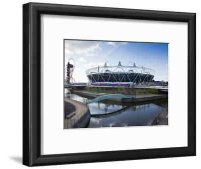 The Olympic Stadium with the Arcelor Mittal Orbit and the River Lee, London, England, UK