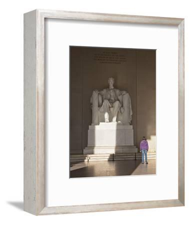 The Statue of Lincoln in the Lincoln Memorial Being Admired by a Young Girl, Washington D.C., USA