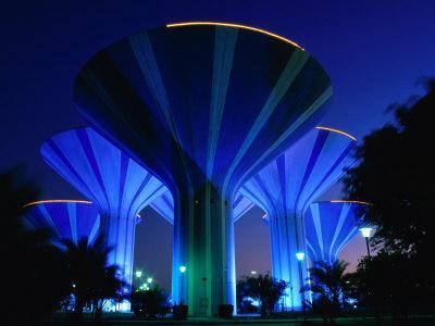 Floodlit Water Towers on Sixth Ring Road, Al Farwaniyah, Kuwait