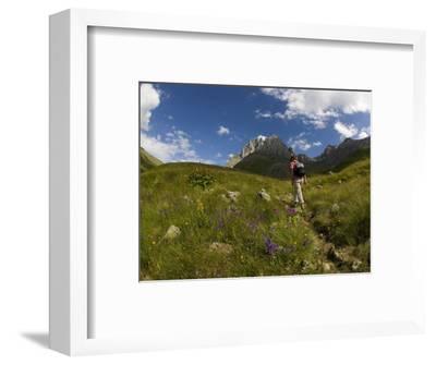 Hiker Treks Uphill Towards Mt Chaukhi