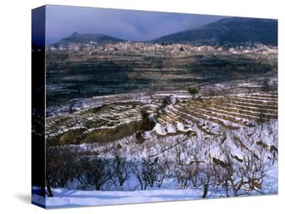 Snow Covered Fields and Village in the Qadisha Valley, Bcharre, Lebanon