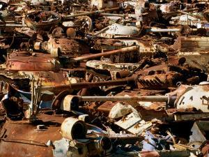 Tanks and Military Vehicles Destroyed During 1990-91 Gulf War in Desert at Ali Al Salem, Kuwait by Mark Daffey