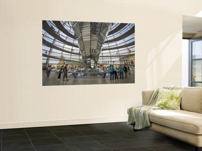Visitors Inside Glass Dome on Top of Parliamentary Building, the Reichstag, Mitte