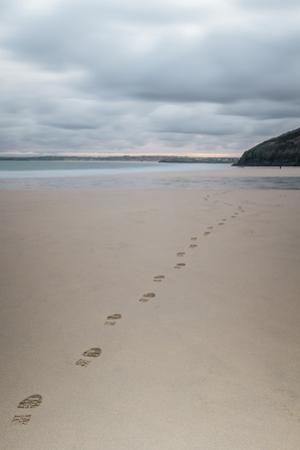 Footsteps in the Sand, Carbis Bay Beach, St. Ives, Cornwall, England, United Kingdom, Europe by Mark Doherty