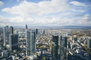 High Angle View of Financial Centre, Frankfurt-Am-Main, Hesse, Germany, Europe by Mark Doherty