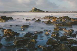 Rocky Shoreline and St. Michaels Mount, Early Morning, Cornwall, England, United Kingdom, Europe by Mark Doherty