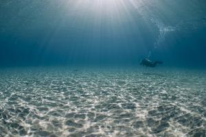 Solitary Scuba Diver in Shallow Sandy Bay, with Sun Beams, Naama Bay by Mark Doherty