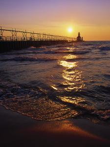 Sunset at Lighthouse, Lake MIchigan, MI by Mark Gibson