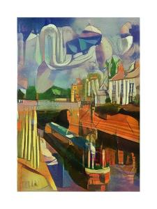 canal boat at trent lock - de chirico by Mark Gordon