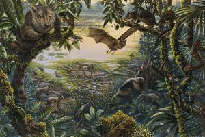 Ancient Ecosystem at Messel with Animals in Rain Forest around a Lake by Mark Hallett