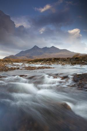 Black Cuillin Mountains with the River Sligachan, Isle of Skye, Inner Hebrides, Scotland, UK